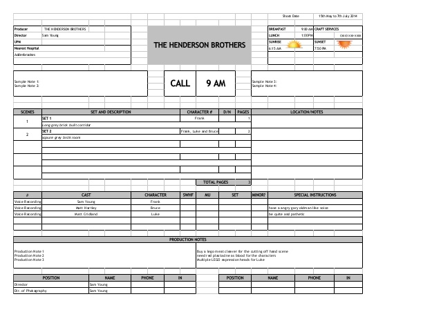 Call Sheets by Don Rorke March on Film – Call Sheet Example